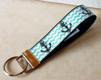 Blue Anchor- Key Fob, Swanky Fob, keychain, Key Fobs, Keychains, Keys, Wristlet, black and white, Swanky Bands, Key Fobs, Anchors, Summer