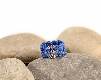 ring blue - steampunk ring - gear wheel - steampunk dress - cotton ring - crocheted jewelry - crochet ring - steampunk jewelry - MudenoMade