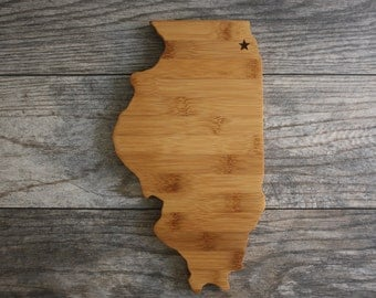 Illinois State Cutting Board - Engraved Illinois State Shaped Cutting Board - Perfect Wedding Gift, Engagement Gift, Housewarming Gift