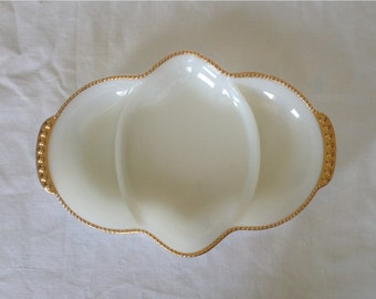 Fire King White Divided Dish
