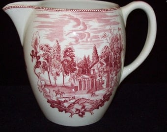 Johnson Bros Historic America Pitcher Pink transferware