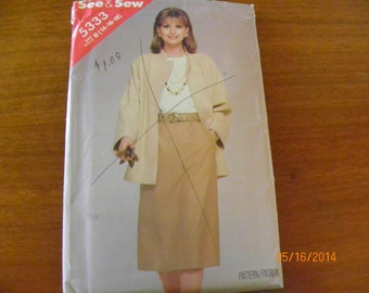 Vintage See & Sew 5333 Sewing Pattern for Misses' Jacket and Skirt, Size B 14 - 16 - 18