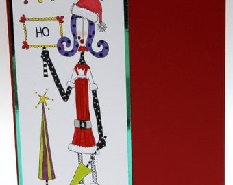 Hand colored funny Christmas Ho greeting card in red