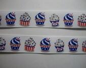 "Cupcakes Red White Blue Patriotic 7/8"" Grosgrain Ribbon DIY Hairbows Hair Bows 10 yards of ribbon 50 cents per yard"