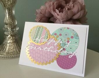 Handmade Happy Birthday Circles card