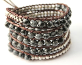 Grey Black Wrap Bracelet; Leather Wrap Bracelet, 5 wrap Leather Bracelet, Beaded Wrap Bracelet, Wrap leather bracelet