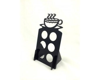 Black 6 K Cup Dispenser Coffee Keurig & tree pod holder Acrylic Made in USA