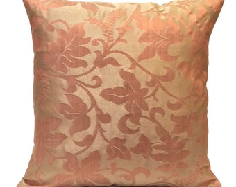 Beige & Salmon Pink Pillow, Throw Pillow Cover, Decorative Pillow Cover, Cushion Cover, Pillowcase, Accent Pillow, Floral Pillow, Polyester
