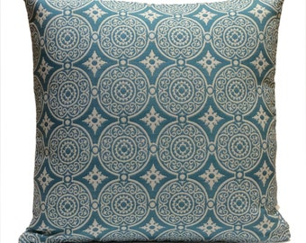 White and Turquoise Blue Pillow, Throw Pillow Cover, Decorative Pillow Cover, Cushion Cover, Pillowcase, Accent Pillow, Cotton Blend Pillow