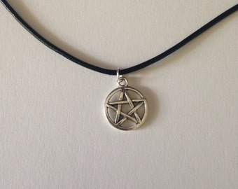 Pentagram corded necklace