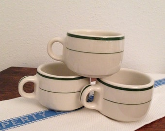 Tepco Diner Coffee Cups Mugs Green Bands Set of 3 Vintage