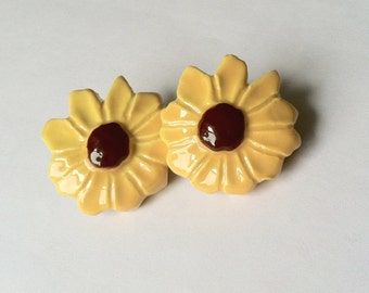 Vintage Handmade Yellow and Brown Sunflower Ceramic Earrings