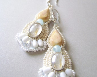 Dangle Earrings from beads. Earrings in pastel colors. Long earrings handmade.