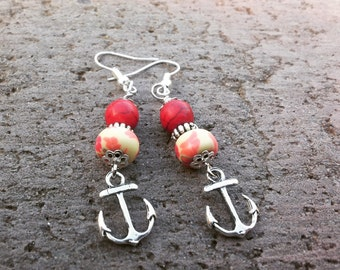 Red and yellow anchor earrings