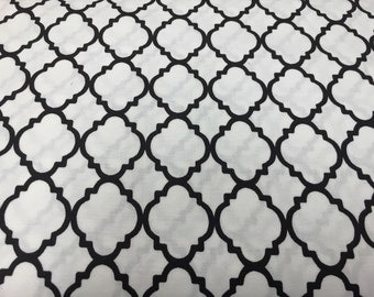 Black On White Frame Lattice By The Yard