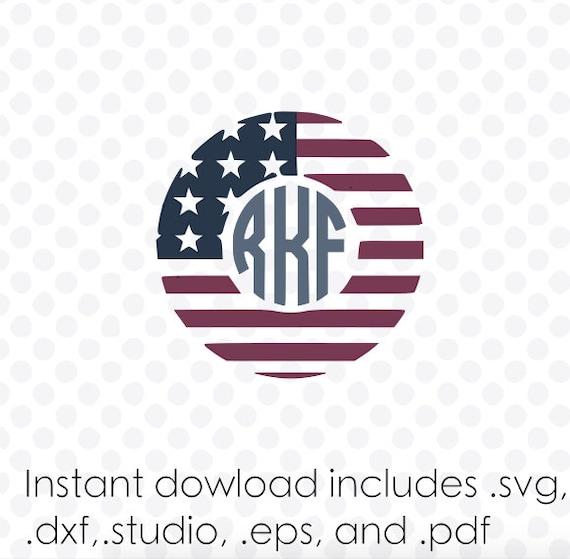 American Flag Monogram Frame Instant Download Zipped Eps
