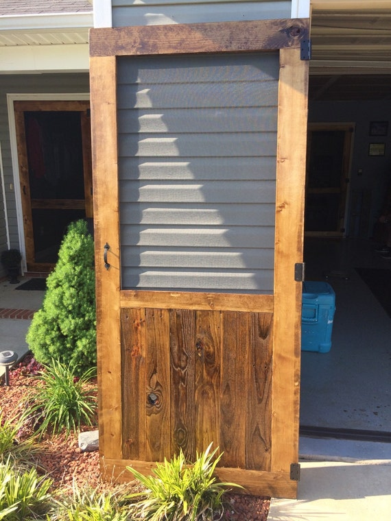 On sale beautiful custom rustic screen door with by for Custom made wood doors