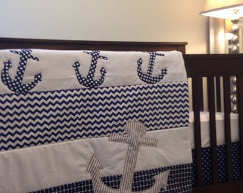 Paula's Custom Anchor baby quilt with sailboats and whale addition
