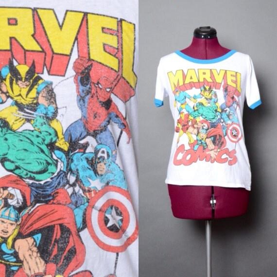 Marvel comics t shirt x men spiderman 90s unisex tee vintage for Retro superhero t shirts