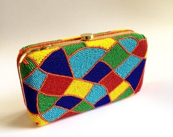 colourful BEADED box clutch