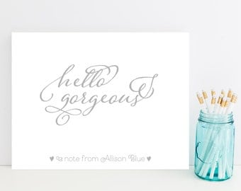 Whimsical Stationery - Cute Hello Gorgeous Personalized Stationary - Sweet Stationery