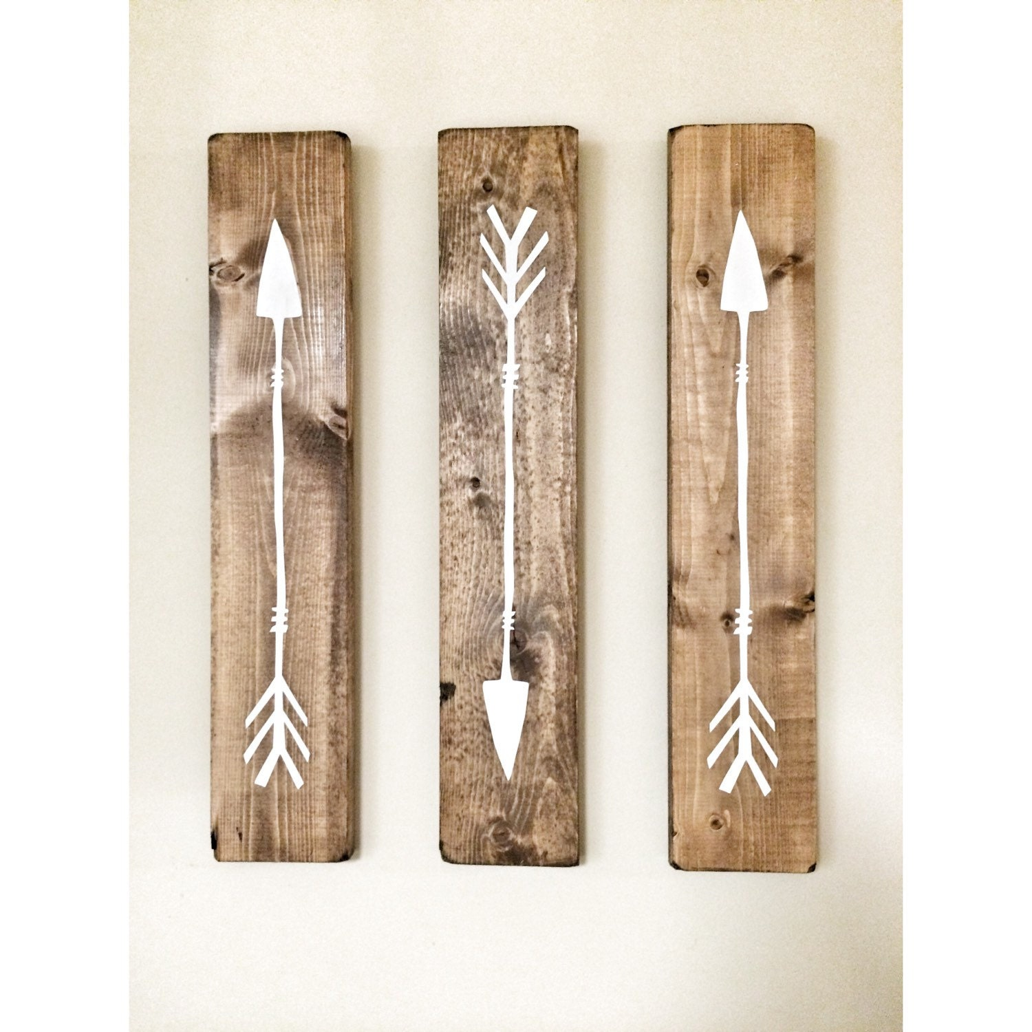Rustic Photo Wall Decor : Rustic white wooden arrows piece set decor