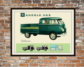 Volkswagen Double Cab VW Bus -  Rendition of Advertisement - Vintage Advertising - Vintage Volkswagen - Print Drawing Art Item 0139