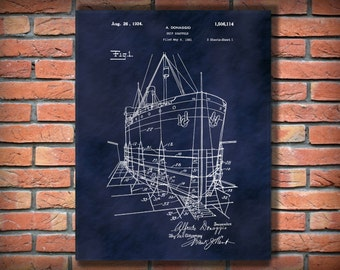 Patent 1924 Ship Scaffold Patent Print Poster - Nautical Wall Art - Naval Wall Art - Ship Wall Art - Ships Scaffolding
