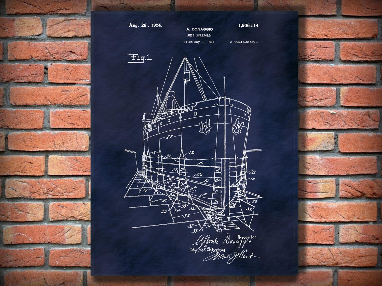 scaffolding patent 1924 ship scaffold patent art print poster nautical wall art naval wall art ship wall art ships scaffolding