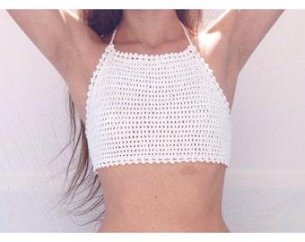 Zahara Crochet Halter Bikini Top