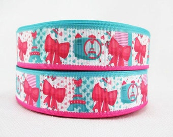 1 inch Eiffel Towers - Paris - Pink and Turquoise -  Printed Grosgrain Ribbon for Hair Bow