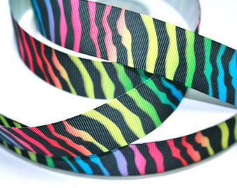1 inch Black Zebra over Rainbow Background Animal Print Printed Grosgrain Ribbon for Hair Bow