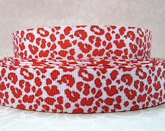 7/8 inch - Classic Red Cheetah / Leopard Over White - STYLE 60020 Printed Grosgrain Ribbon for Hair Bow