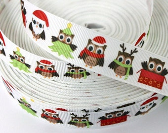 7/8 inch Jolly Owls on White- OWL Christmas Printed Grosgrain Ribbon for Hair Bow