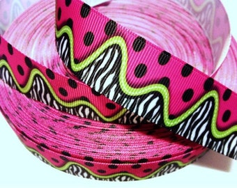 1 inch Zebra w/ Lime Green & Polka Dots on HOT PINK- Printed Grosgrain Ribbon for Hair Bow