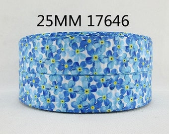 1 inch - Cute Blue Daisies on White - Flowers 17646 Printed Grosgrain Ribbon for Hair Bow