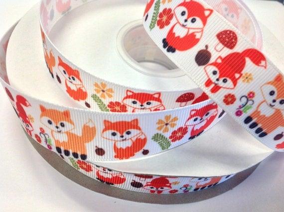 7/8 inch Cute Fox on white Background Printed Grosgrain Ribbon for Hair Bow