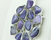 GENUINE RUSSIAN CHAROITE 925 S0LID Sterling Silver Pendant + 4mm Snake Chain & Free Worldwide Express Shipping p1454