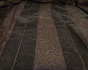 Brown floral stripe fabric by the metre