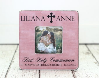 First Holy Communion Gift Personalized Picture Frame First Holy Communion Cross