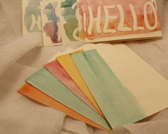 Hand Painted Watercolor Greeting Cards - Set of 5 cards and Envelopes