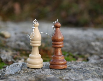 Chess earrings of a recycled board game, chess piece, chess earring, retro earring- one for the price