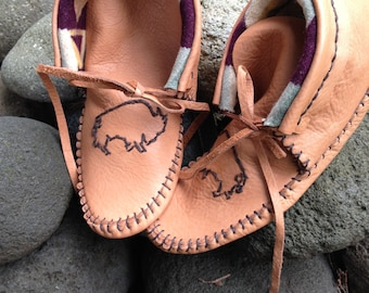 Handcrafted Moccasins with Embroidery & Pendleton