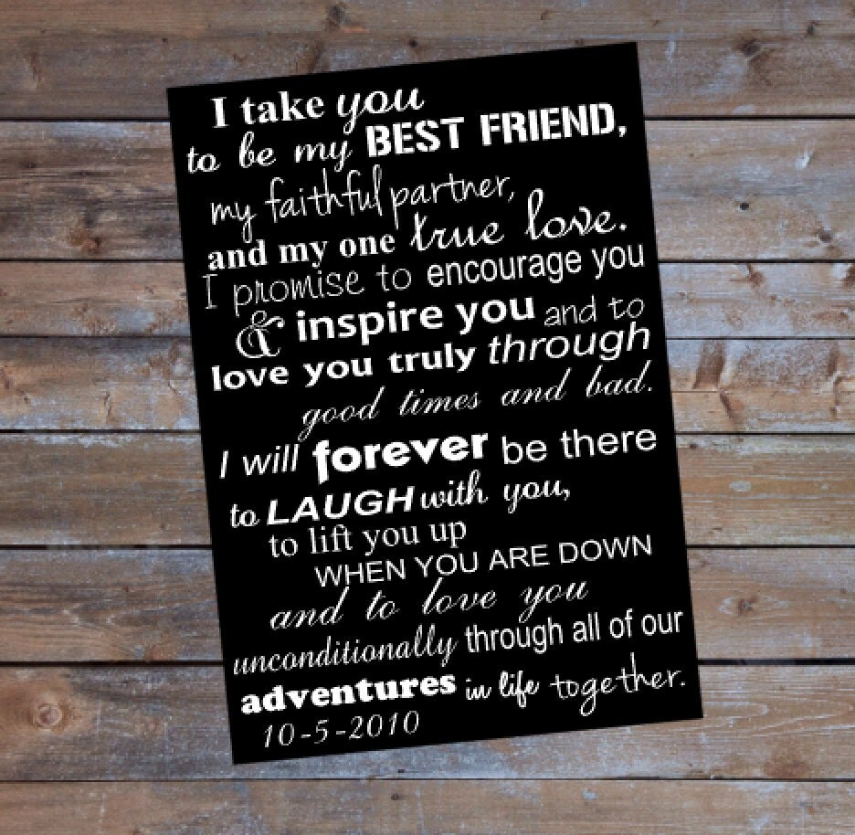 Last Minute Wedding Gift Wedding Vows Printable Sign Wedding