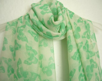 Butterfly Scarf, Cream Scarf - Green Butterfly, For Her, Spring- summer Accessory, Scarf, Fashion Accessory