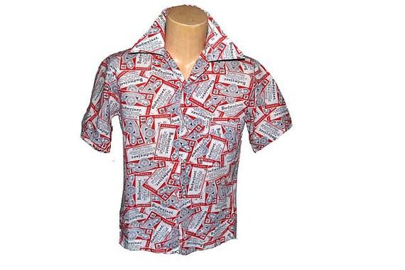 Vintage 1970 39 S Budweiser Button Up Shirt Retro Pop Art