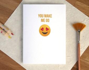 Valentines Card Funny Heart Eye Emoji, Valentine's Day, for a Girlfriend / Boyfriend / Husband / Wife / Crush or Bae