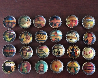Coney Island Inspired Freak Show Side Show Bottle Cap Magnets