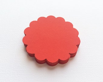 """25 Red Scallop Circles, Paper Punches, Die cuts - 2"""""""