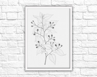 Black & White Nature Leaves Sketch Print - Instant Download - Printable Wall Art Decor